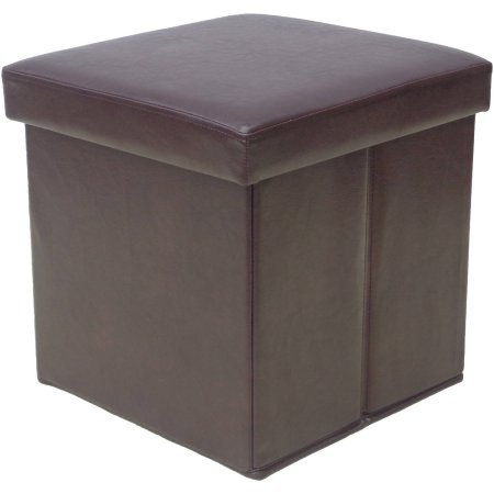 Mainstay Collapsible Storage Ottoman Holds up to 220 lbs, Dark Brown