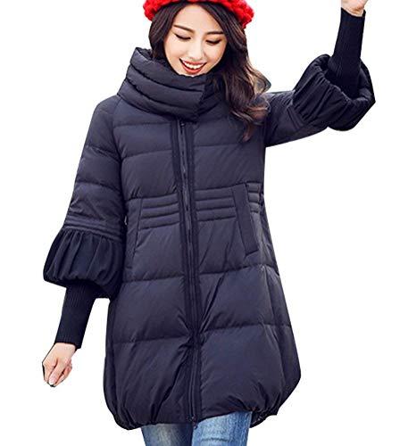 Lunga Casual Invernale Manica Oversize Piumino Cappotto Collo Allentato Trapuntato Donna 1 Autunno Unita Alto Zipper Abbigliamento Schwarz Tinta IIPO7Sxqw6
