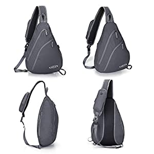 G4Free Sling Shoulder Backpack Chest Crossbody Bag One Strap bag for Men Women, Girls Boys Lightweight Triangle Pack Rusksack Hiking Camping Bicycles Daypacks 15L(Gray)