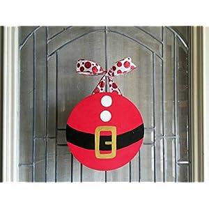 Santa Belly Christmas Door or Shelf Decoration- door hanger- Santa belt- circle wood sign- wreath 108