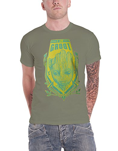 Guardians Of The Galaxy T Shirt I Am Groot Distressed Official Mens Green (I Am Groot Merchandise)