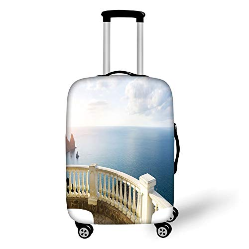 Travel Luggage Cover Suitcase Protector,Antique Decor,Historical Stone Balcony Balustrade Ocean Rocks Horizon Ancient Europe,Blue White Brown,for TravelXL 29.9x39.7Inch ()