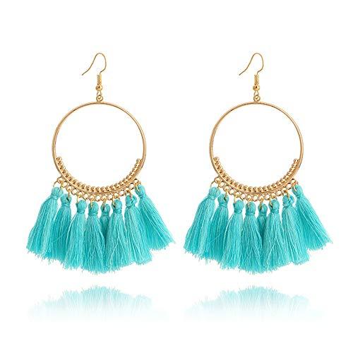 - Minestone Bohemian Handmade Tassel Earrings for Women Vintage Round Long Drop Earrings Wedding Party Bridal Fringed Jewelry Gift (Green)