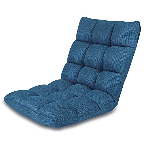 Floor Chair Adjustable NNEWVANTE 5 Angles Padded Floor Game Seating Back Support Floor Seat Recliner Fold Flat for Meditation, Reading, Watching, Video-Gaming, Adult Kid, Nave Blue