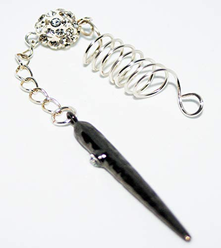 (Dreadlock Bead Hair Jewelry Silver Spike Rhinestone 7mm Loc Charm)