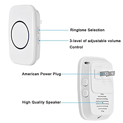Wireless Doorbell, YIHunion Remote Waterproof Plug in Wireless Door Bell Chime Kit with LED Light, Waterproof Push Button, 3-Level Volume, 38 Ring Tunes