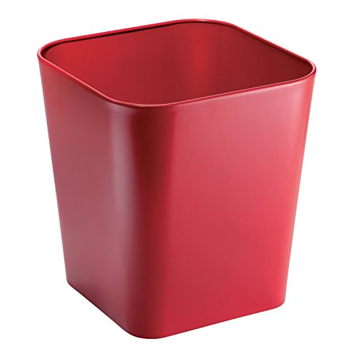 mDesign Metal Square Small Trash Can Wastebasket, Garbage Container Bin for Bathrooms, Powder Rooms, Kitchens, Home Offices - Solid Steel Construction in Red