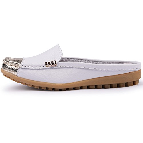 On White Slip Girls' Uown Casual Shoes Backless Loafers Mule Leather Women's TZFpt