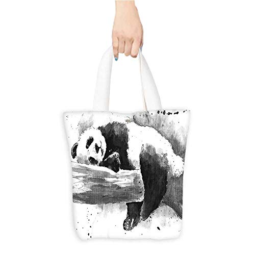 Personalized Pattern Custom Shopping Bag Animal Decor Panda Lying on a Tree Branch Classic Asian Watercolor Painting Style Artwork Print Black White (W15.75 x L17.71 Inch)