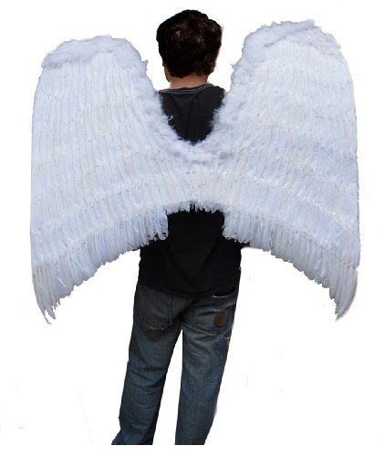 SACAS Super Large Halloween White Costume Feather Angel Wings