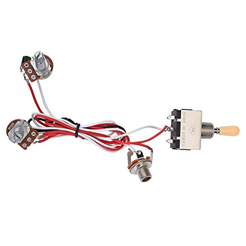 - SODIAL Guitar Wiring Harness 3Way Toggle Switch 1V1T 500k Electric Guitar 2 Humbucker