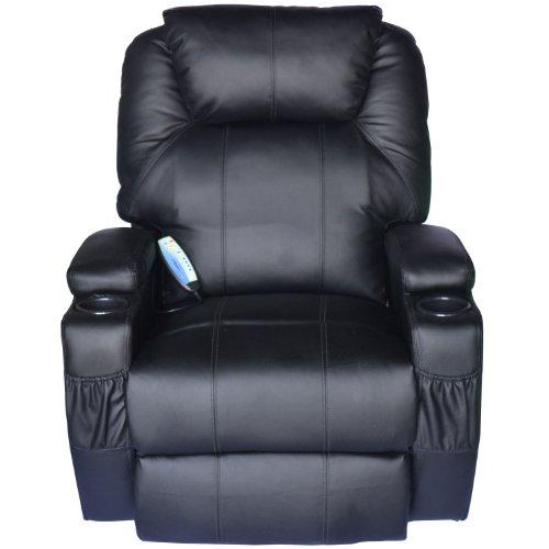 Homcom Luxury Leather Recliner Sofa Chair Armchair Cinema Massage Chair Rocking Swivel Heated Nursing Gaming Chair Black