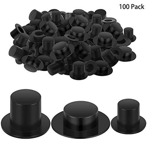 Trounistro 100 Pack Mini Plastic Black Top Hats Magician Top Hats for Chrismas Winter Snowman DIY Decoration Party Supplies, 3 Size