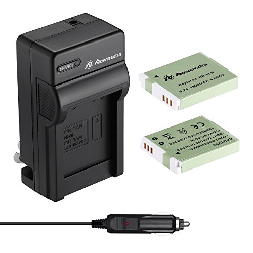 Powerextra Upgraded 2 Pack Replacement Canon NB-6LH Battery as NB-6L Battery and Charger Kit Compatible with Canon Powershot S120, SX510 HS -