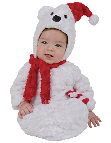Christmas Polar Bear Costumes (Underwraps Baby Christmas Polar Bear Bunting, White/Red, Infant)