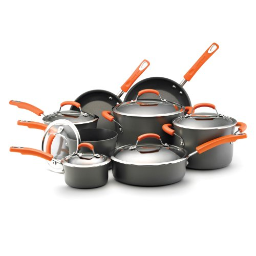 Rachael Ray Hard Anodized Nonstick Dishwasher Safe 14-Piece Cookware Set, Orange