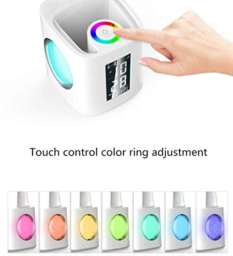 MRXUE Table Lamp Pen Holder Colorful Desk Lamp Screen with Date Time Alarm Clock Temperature Touch Control Eye-Care USB Charger Port Phone Charging by MRXUE (Image #2)