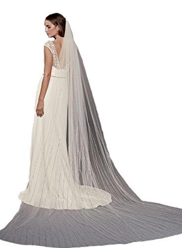 Passat Pale Ivory Single-Tier 3M Cathedral Linear Beaded bridal veil rhinestones DB16 by Passat
