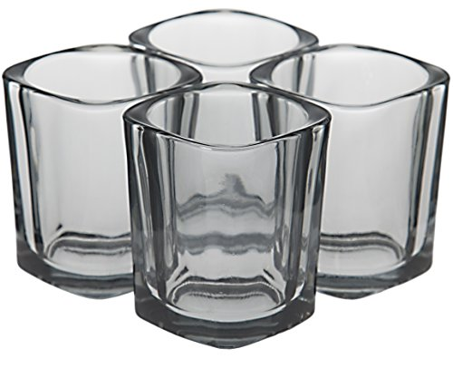 Square Shot Glass - Shot Glasses Set by Trendy Bartender - 2 Ounce Square Heavy Base Shot Glass for Whiskey, Tequila, Vodka - Polishing Cloth & Bottle Pourer With Tapered Spout - Retail Packaging (4pcs, Smoky Grey)