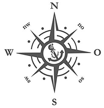 Generic Kompass Polarstern Aufkleber 30x30cm Windrose Aufkleber Für Caravan Wohnmobil Wohnwagen Auto Oder Als Wand Tattoo 1381 30cm Schwarz Matt