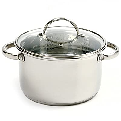 4 Quart, Steamer Set with Stainless Stockpot, Steamer Insert & Vented Lid
