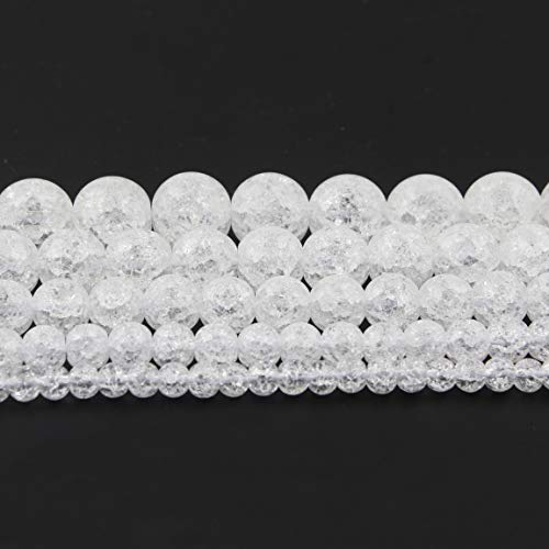 Yochus 10mm White Snow Cracked Crystal Round Loose Beads Natural Stone Beads for Jewelry Making