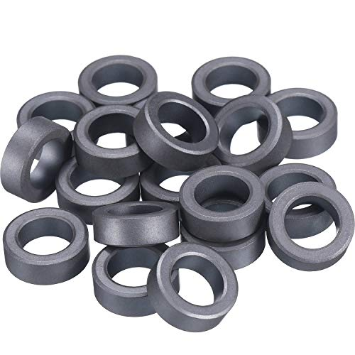 Skylety 20 Pack 22 mm by 14 mm by 8 mm Ferrite Ring Toroid Core Black