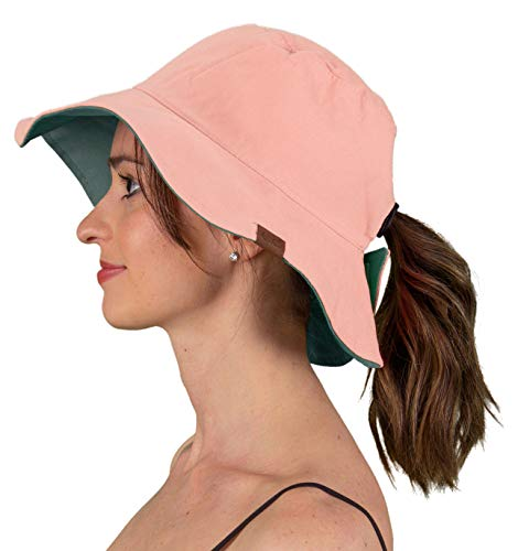 SH-22-6528 Reversible Sun Bucket Hat - Rose/Cadet Blue