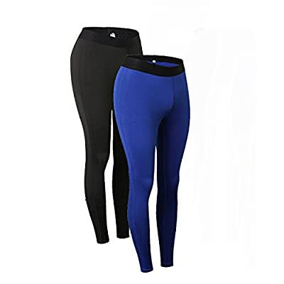 Minghe Women's 2 Pack Compression Long Underwear Pants Stretch Base Layer Tights