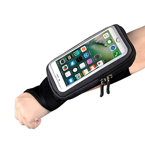 Yigou Wrist Bag Forearm Band Bike Mount Phone Holder, Riding Wristband Pouch Bag with Key Card Cash Holder for Cycling, Jogging, Exercise, for Smartphone Up to 6 Inchs