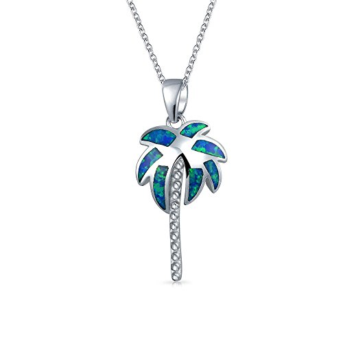 - Nautical Palm Tree Tropical Beach Pendant Blue Inlayed Created Opal For Women Necklace 925 Sterling Silver 16 Inch Chain
