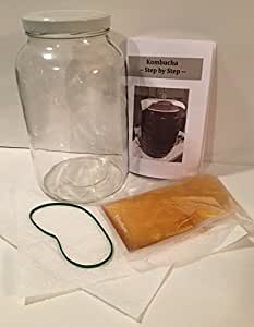 GROW A MOTHER - KOMBUCHA KIT (One Gallon Jar w/Lid, Covers, Rubber Bands, Starter Culture, 22 page Instruction Booklet)