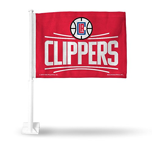 NBA Los Angeles Clippers Car Flag, Red, with White Pole