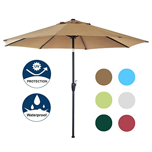 9' Outdoor Market Umbrella - Blissun 9' Outdoor Market Patio Umbrella with Auto Tilt and Crank, 8 Ribs (Tan)