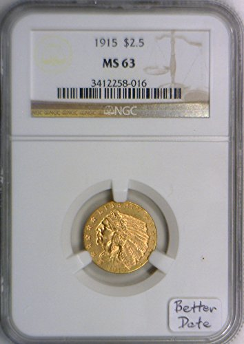 1915 No Mint Mark Quarter Eagle NGC MS-63