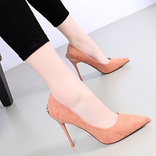 KHSKX-La Primavera De Nuevo Boca Superficial De Gamuza Tacon Mujer Taladro De Agua Zapatos De Novia Zapatos De Tacon Alto 10Cm De Tacon Fino Único Pink