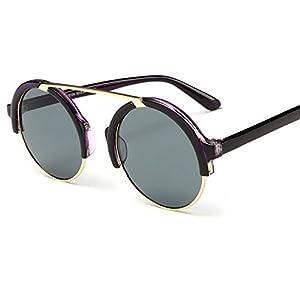 Sunglasses retro metal single beam round big frame personality frog mirror,1