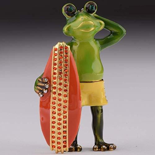 Keren Kopal Surfer Frog Trinket Box Figurine Decorated with Swarovski Crystals Unique Handmade Gift Home Office Decor ()