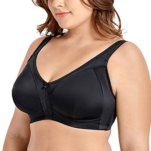 DELIMIRA Women's Non-Padded Wire Free Comfort Lift Full Coverage Support Bra Black 50F