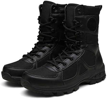 アサルトブーツマイクロファイバーレザーとケチャップラバーソール黒のレースアップスタイルの滑り止めは戦術的な軍事用防水耐摩耗性 (色 : 黒, サイズ : 27.5 CM)
