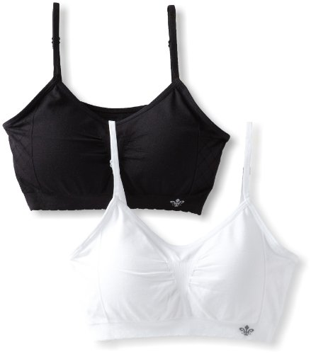 (Lily of France Women's Dynamic Duo 2 Pack Seamless Bralette 2171941, White/Black, Small/Medium )