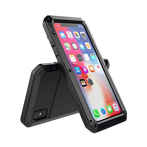 Iphone Apple Aluminum Case - iPhone Xs Max Case, TCM Aluminum Metal Case - Water Resistant Shockproof Heavy Duty Tempered Glass Screen Protector Dual Layer Protective Case for Apple iPhone Xs Max-Black