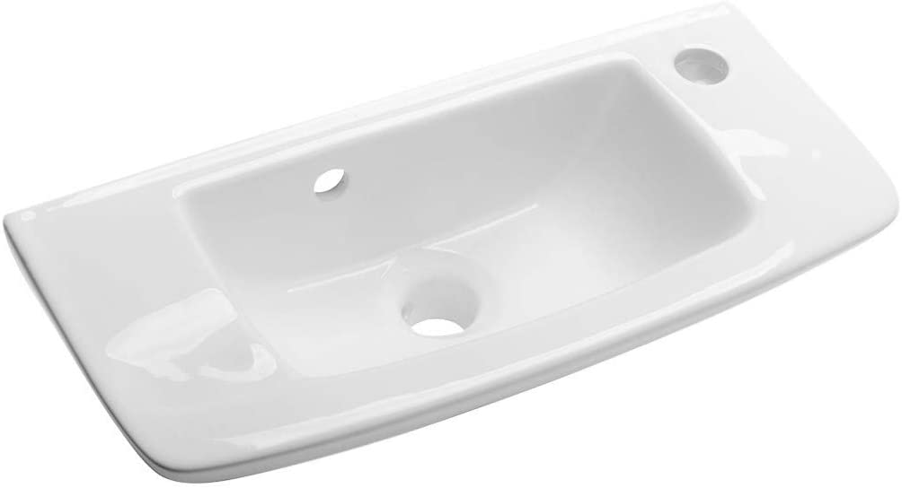 Edgewood 20 Inch Wall Mount Sinks Compact Vessel Bathroom Sink White Bathroom Sinks With Overflow Boring Heavy Duty Ceramic Built Porcelain Coating Renovators Supply Manufacturing Vessel Sinks Amazon Com