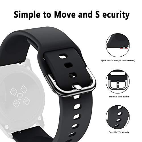 Isabake Cinturini Compatibili per Galaxy Watch Active, Samsung Galaxy Watch 42mm Gear Sport/Gear S2 Classic, 20 mm Cinturino Morbida di Ricambio per Silicone per Samsung Galaxy Watch Active (Nero)