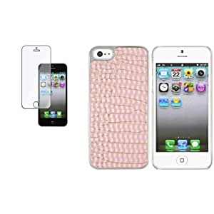 Bloutina CommonByte For iPhone 5 5G Chrome w/Light Pink Crocodile Leather Hard Case+Clear Guard