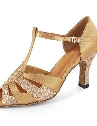 chaussures femmes plus ShangYi des avec de personnalisées danse de Gold de latines talon buckie sandales satin couleurs 1wWfwq85