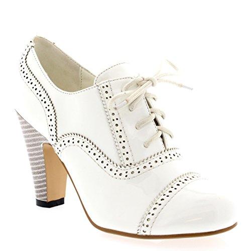 Mujer Mediados Talón Bloque Anochecer Trabajo Mary Jane Botín Zapatos Blanco Patente