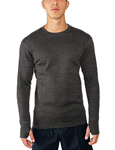 Woolx Men's Glacier Heavyweight Merino Wool Base Layer Shirt For Extreme Warmth, Charcoal Heather, Small