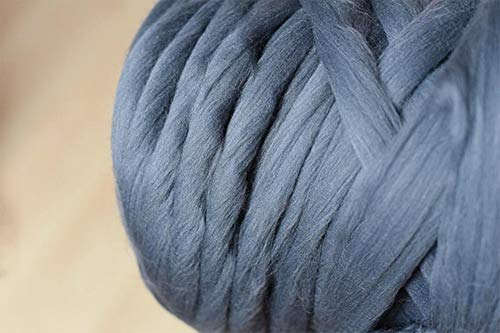 Chunky Yarn Super Bulky Giant Wool Yarn Roving for Arm Knitting Extreme Knitting (4.4lbs(2kg), Dark Grey) by zhengjun (Image #2)