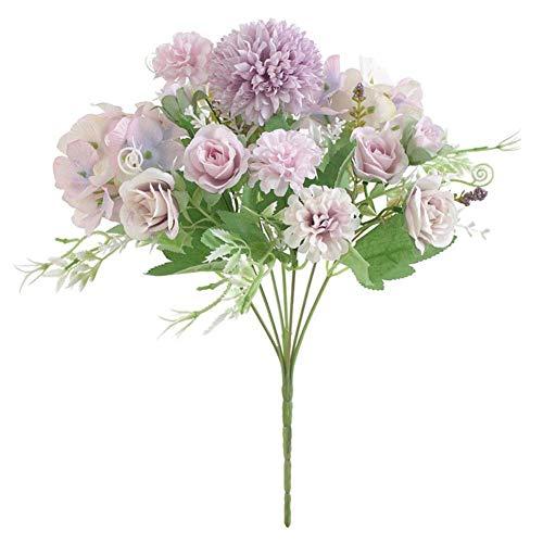 32gagwwc 1Pc Artificial Rose Flower Wedding Bridal Hand Bouquet Party Home Floral Decor Party Home Garden Decoration Bouquet Light Purple